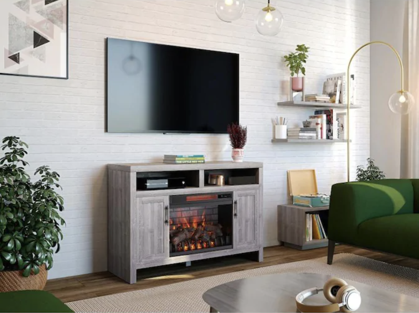 electric fireplace heater in living room beneath TV