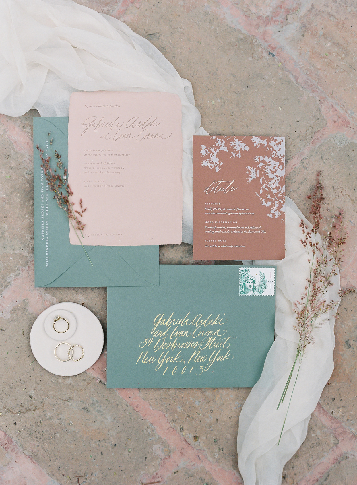teal and coral elegant wedding invitations