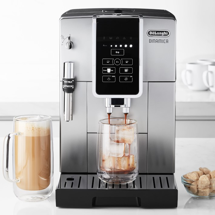 coffee maker and espresso machine with glass mugs of coffee
