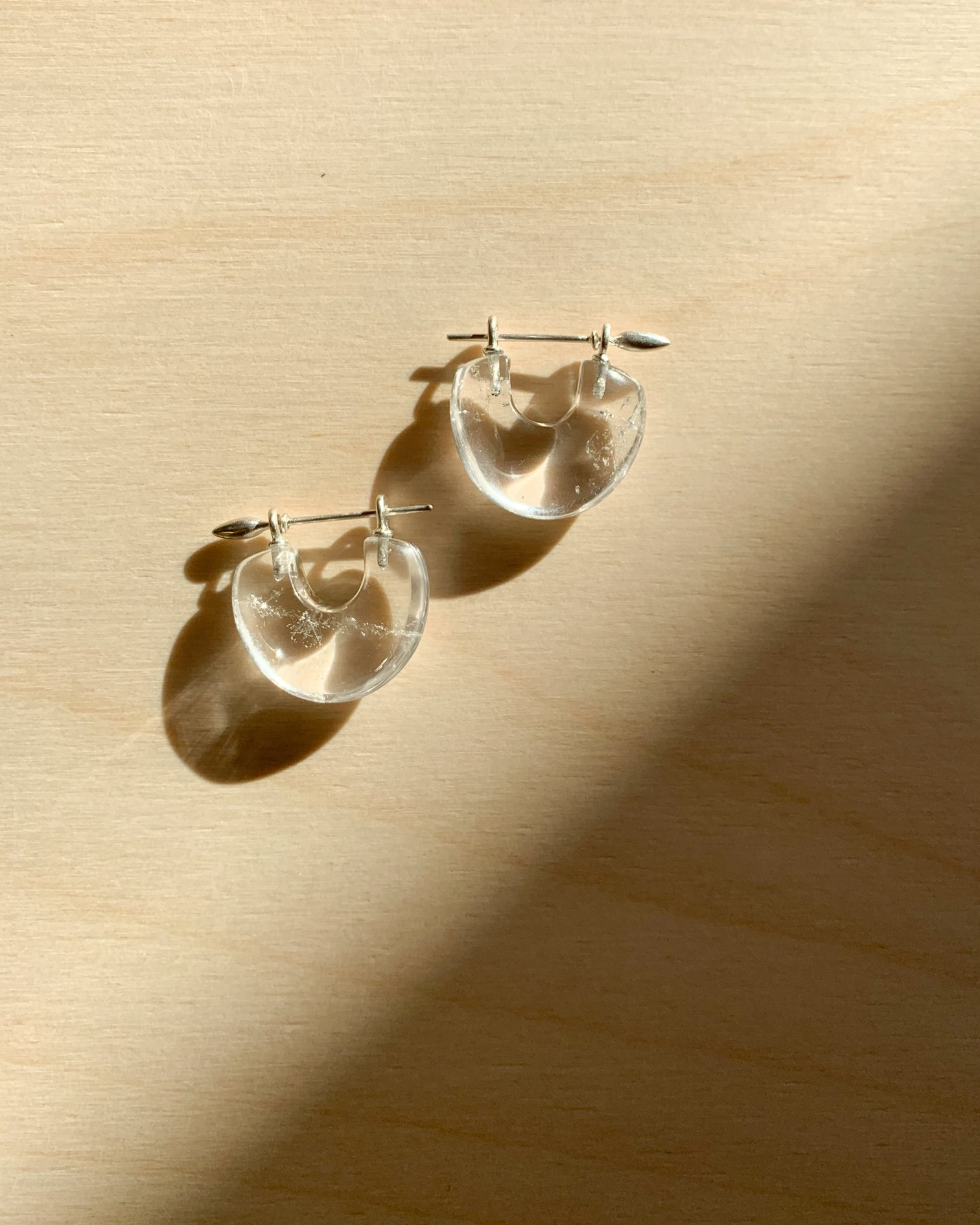 En Arch Earrings in Rock Quartz/Sterling Silver