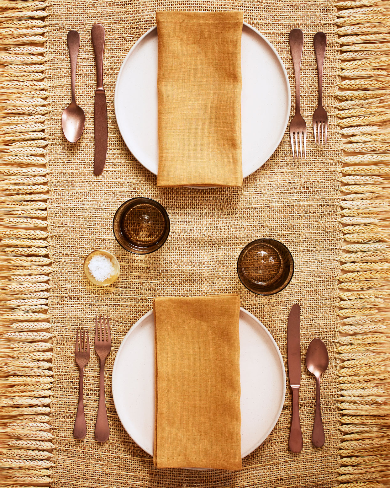 table runner with wheat fringe