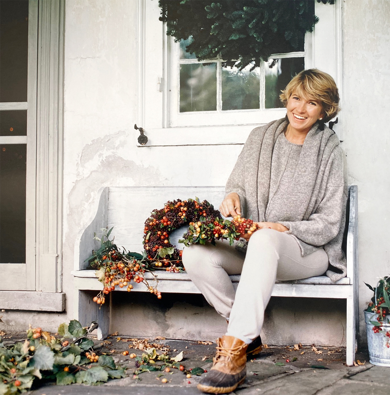 Martha making a fall-themed wreath