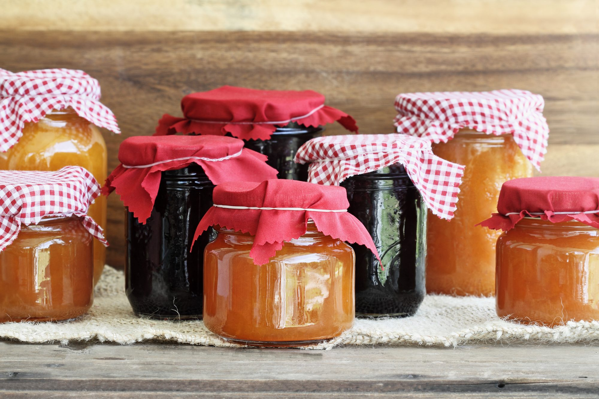 Mason jars filled with jams