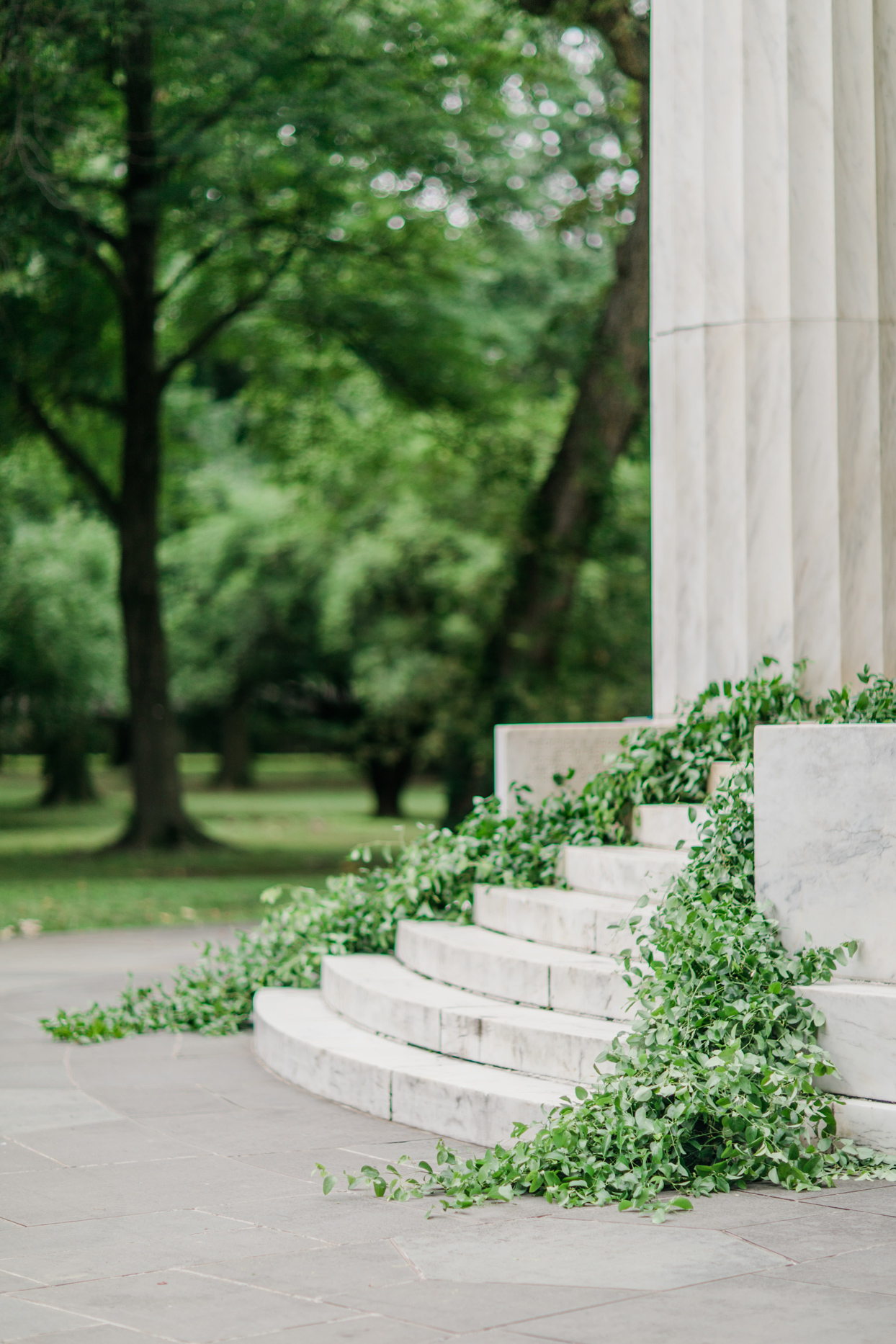dc war memorial steps lined with garlands of greenery