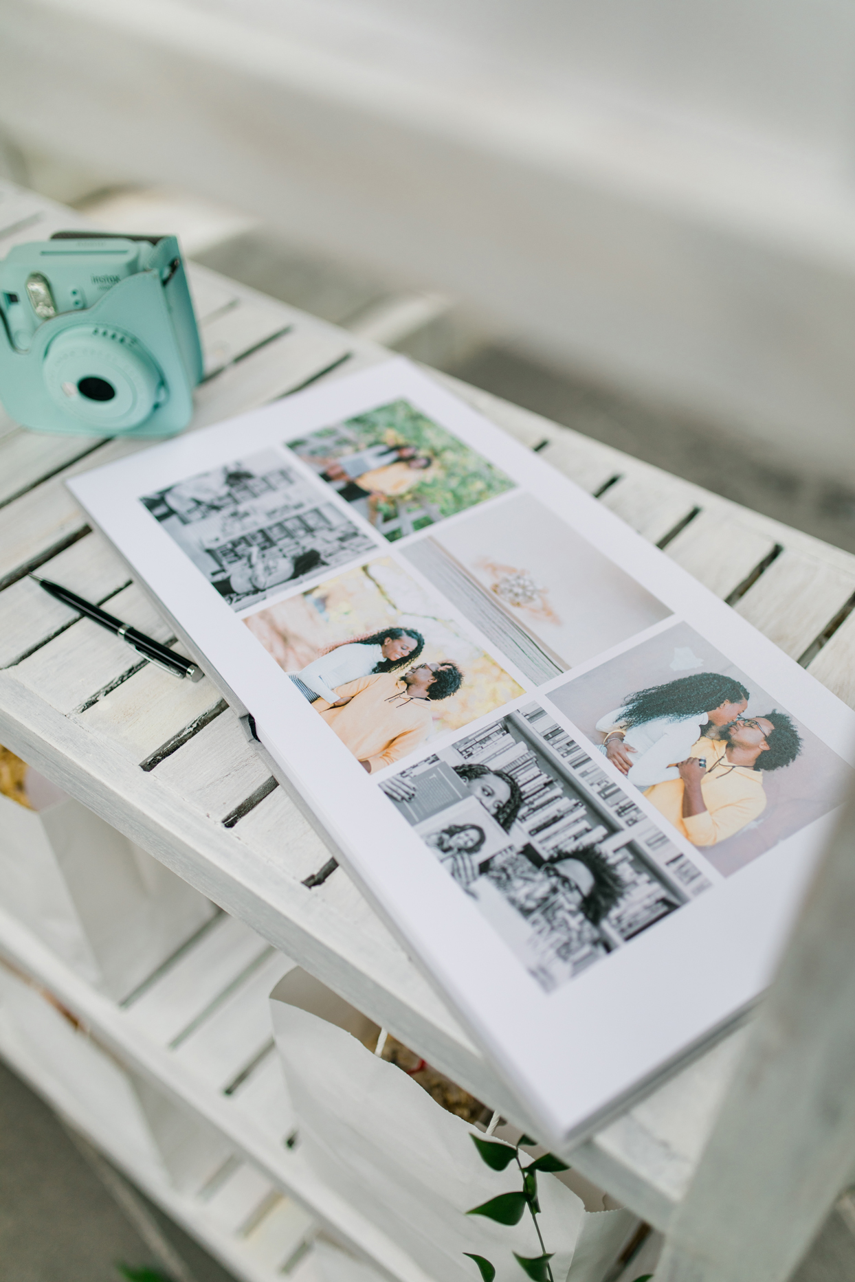 wedding couples guestbook and green fujifilm instax camera