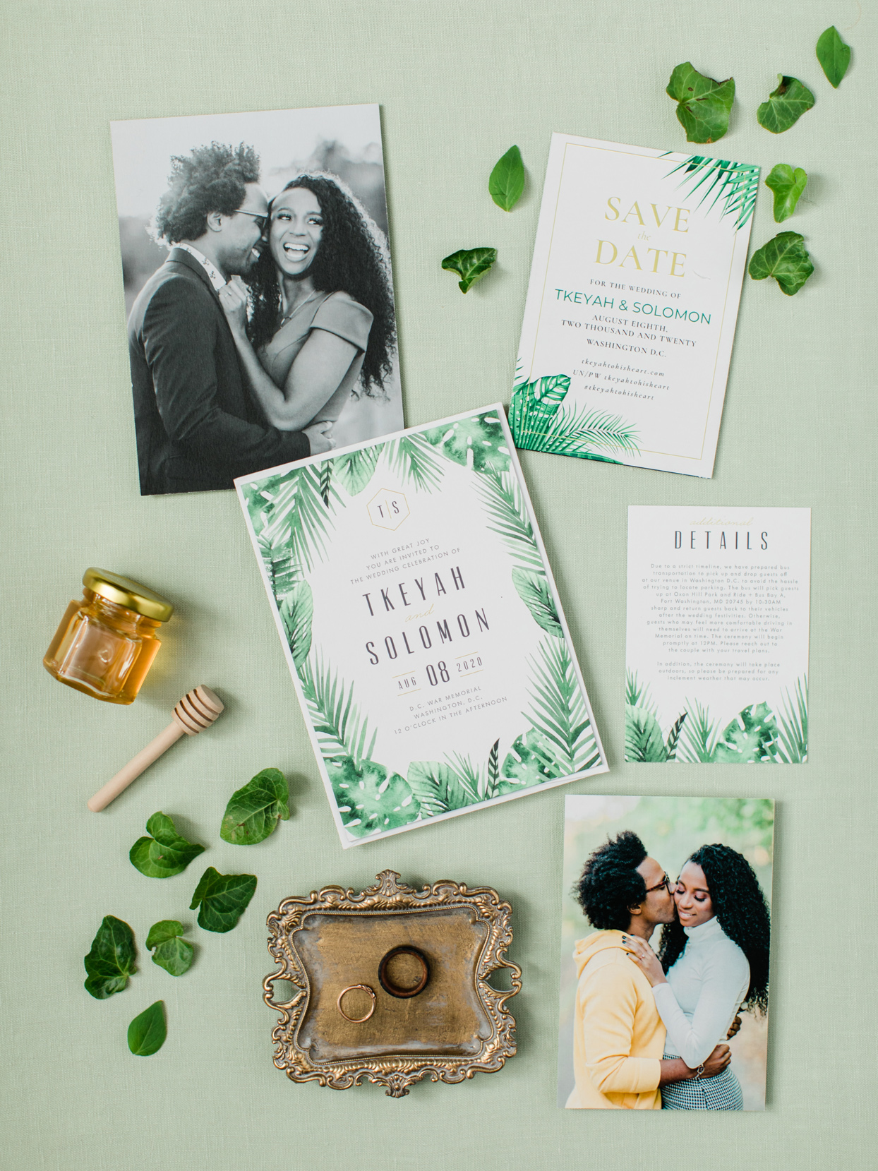 wedding invitation suite with illustrations of palms and banana leaves