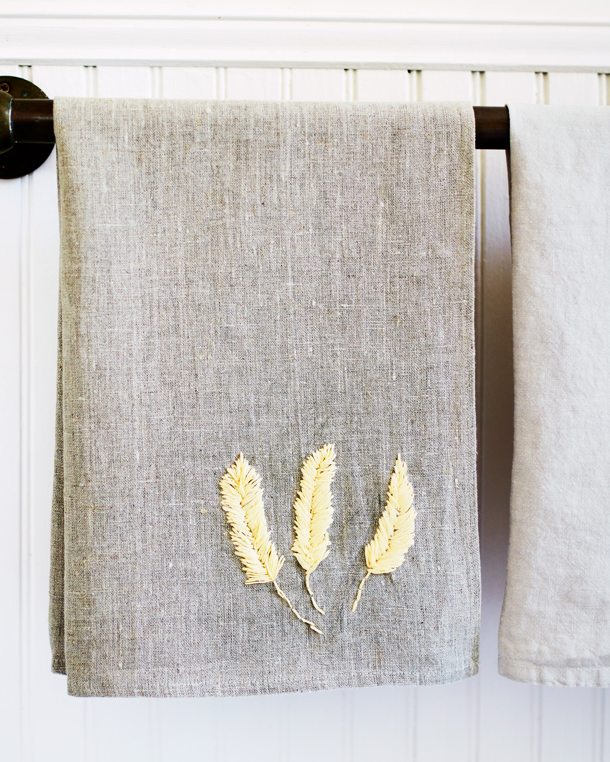 wheat embroidery on towels