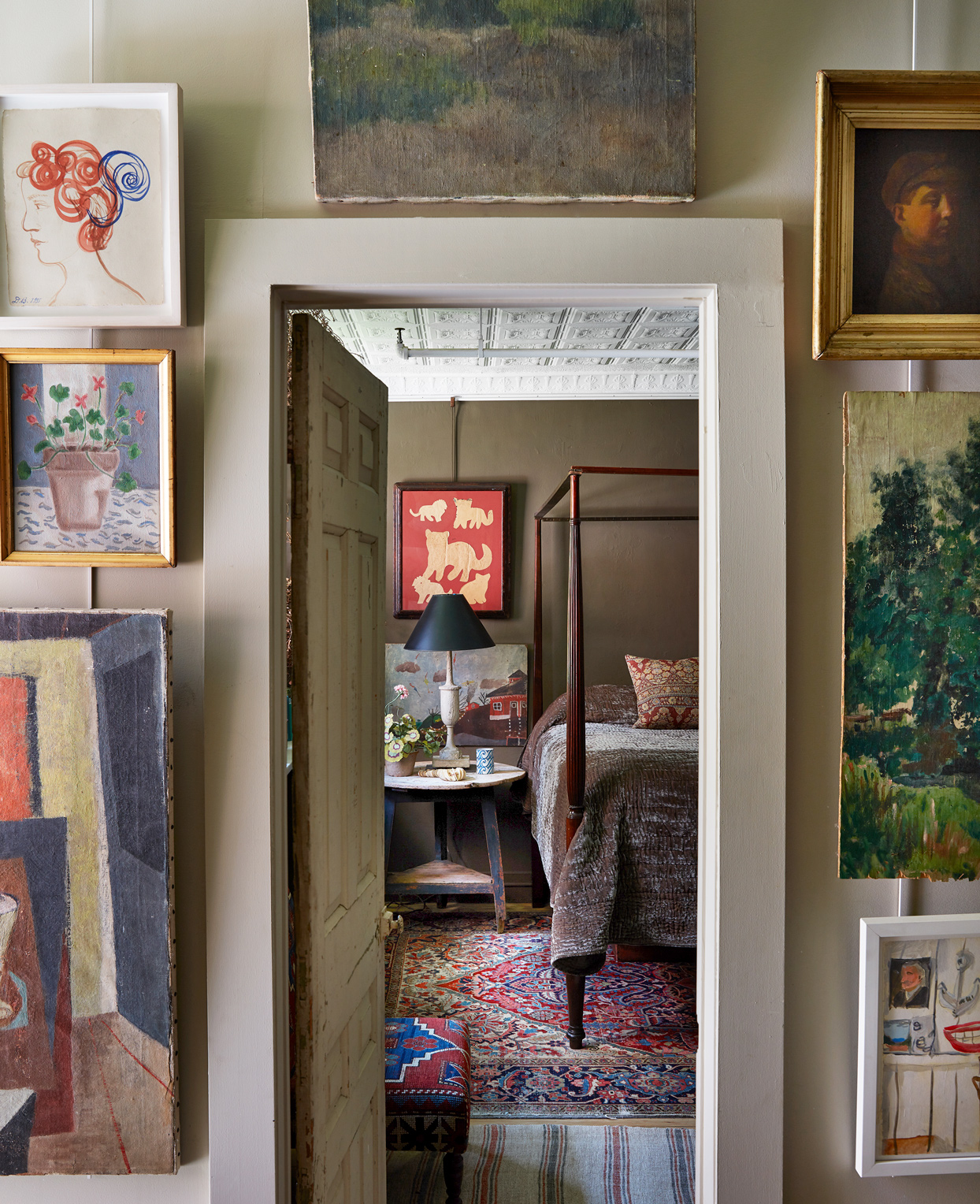 a series of artwork elevated by dimension of two rooms