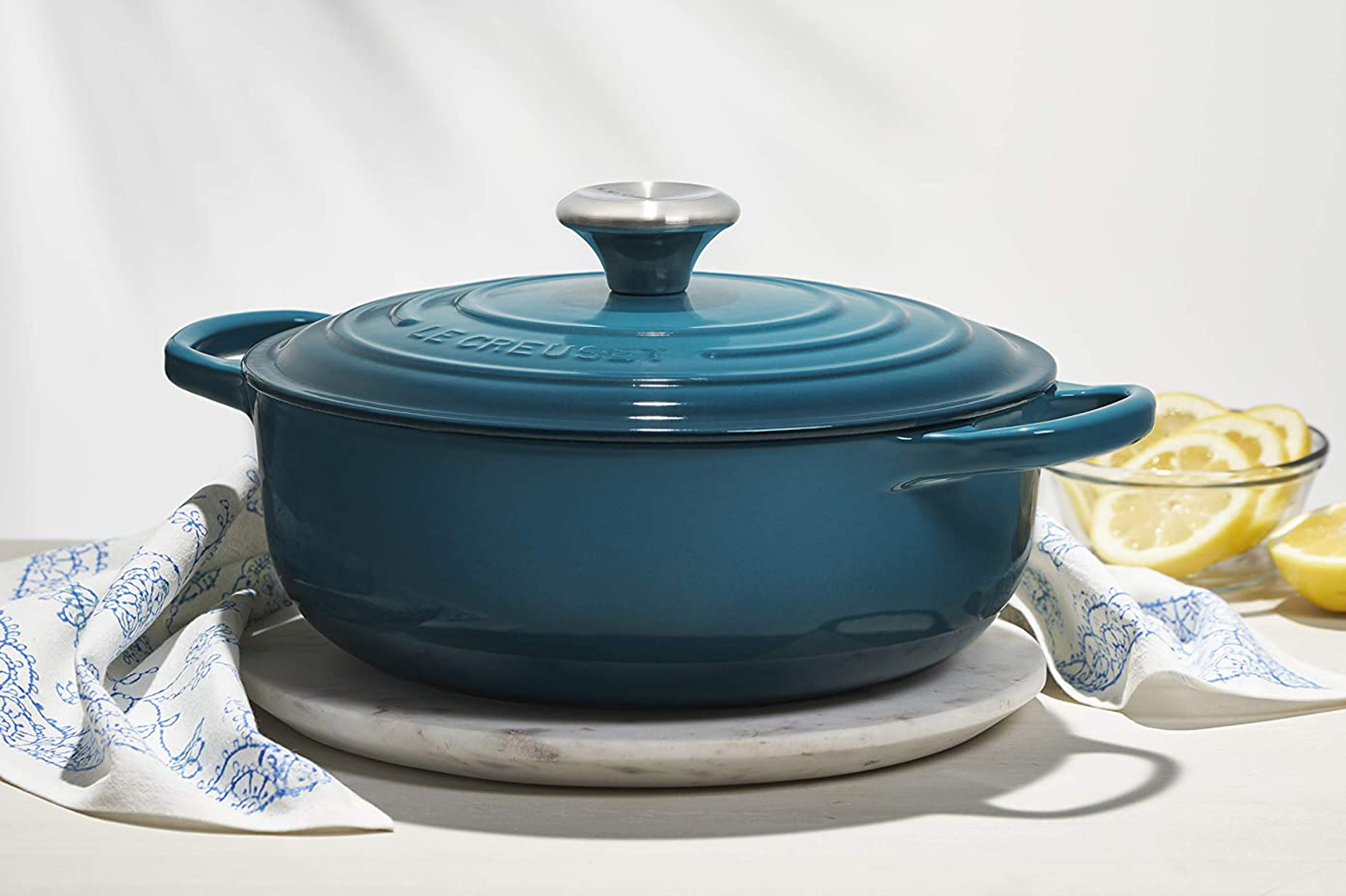 le creuset sauteuse oven on table