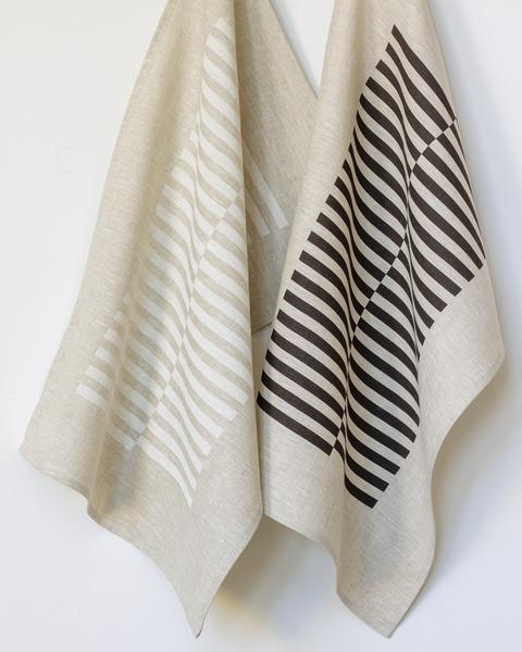 Two striped linen tea towels hanging