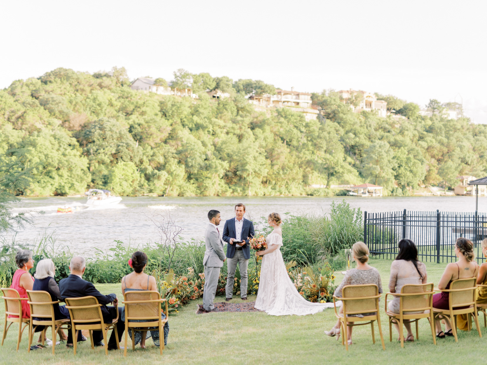 small wedding ceremony by lake