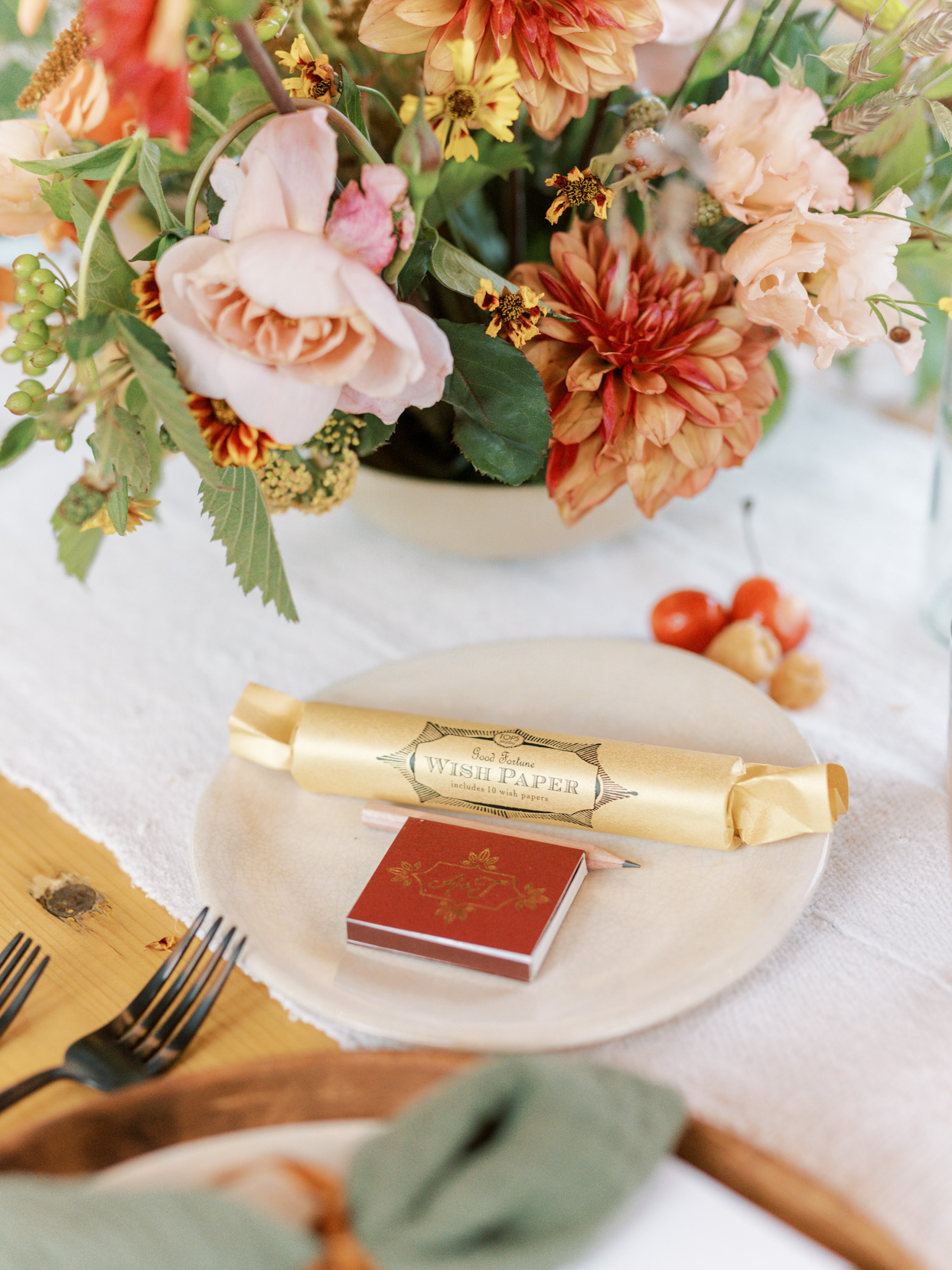 wedding table settings with rolled wish paper