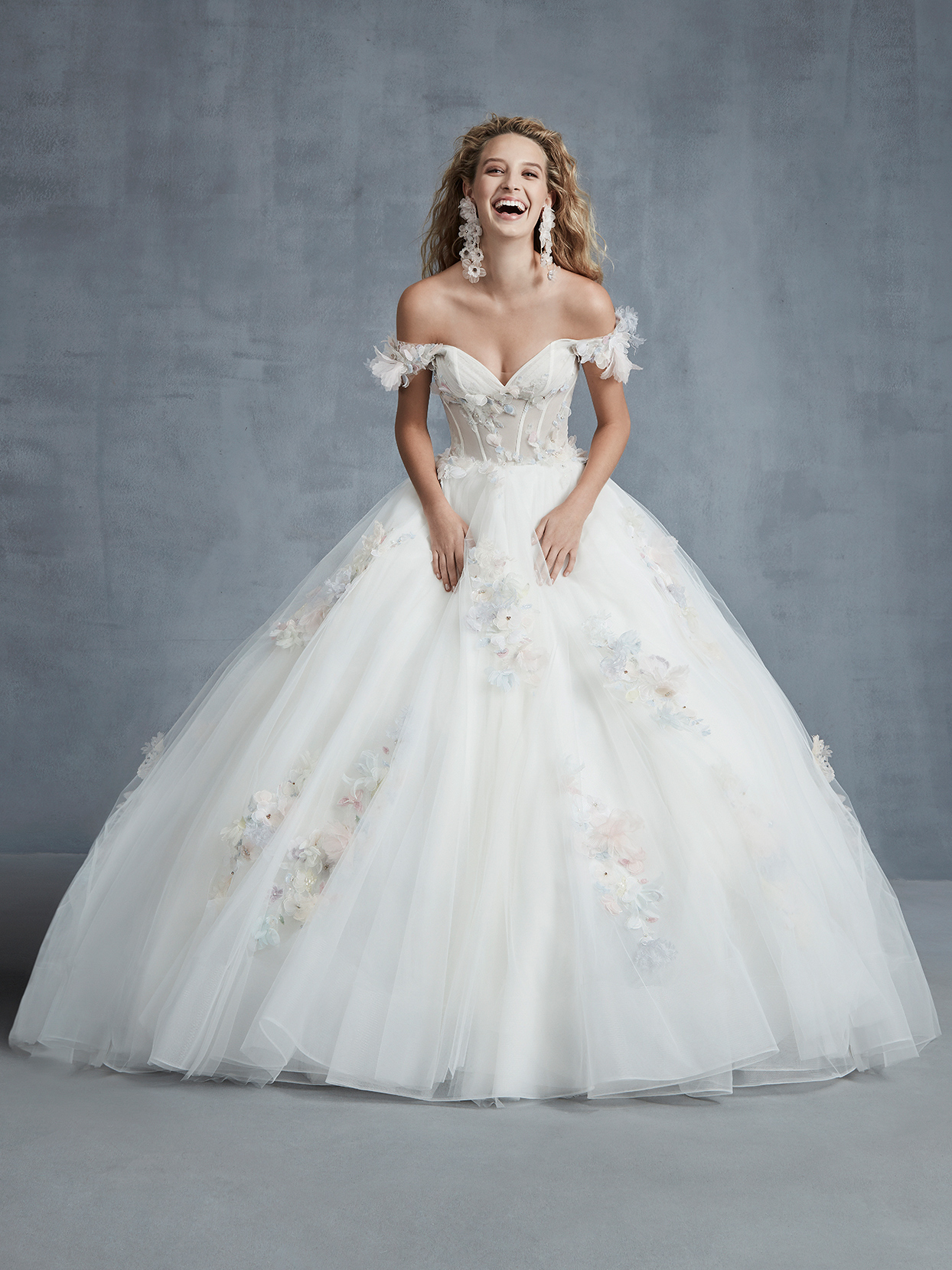Ines Di Santo off-the-shoulder ball gown wedding dress fall 2021
