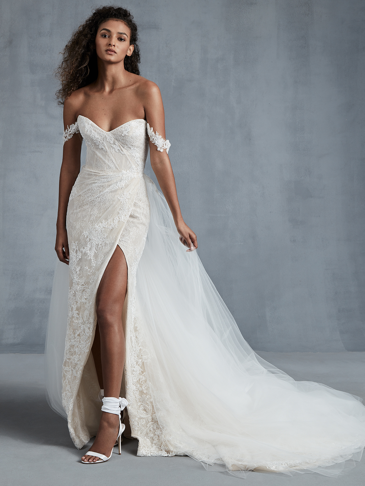 Ines Di Santo off the shoulder side slit wedding dress fall 2021