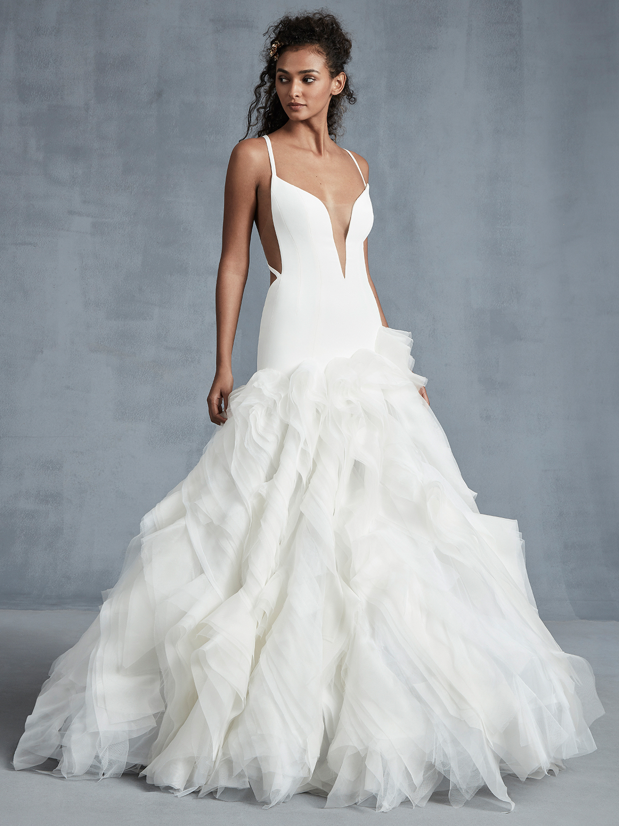 Ines Di Santo layered tulle fit and flare wedding dress fall 2021