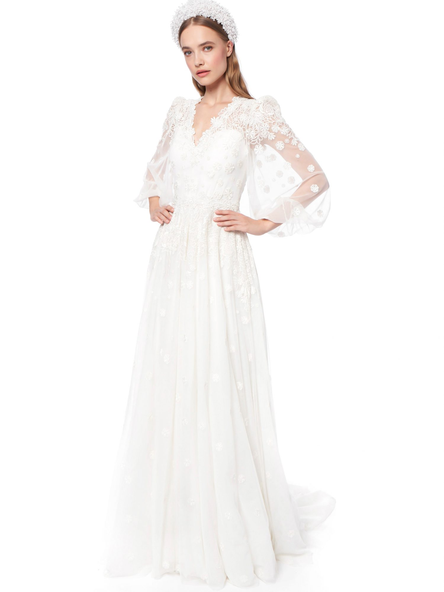 jenny packham floral applique puffed sleeves a-line wedding dress fall 2021