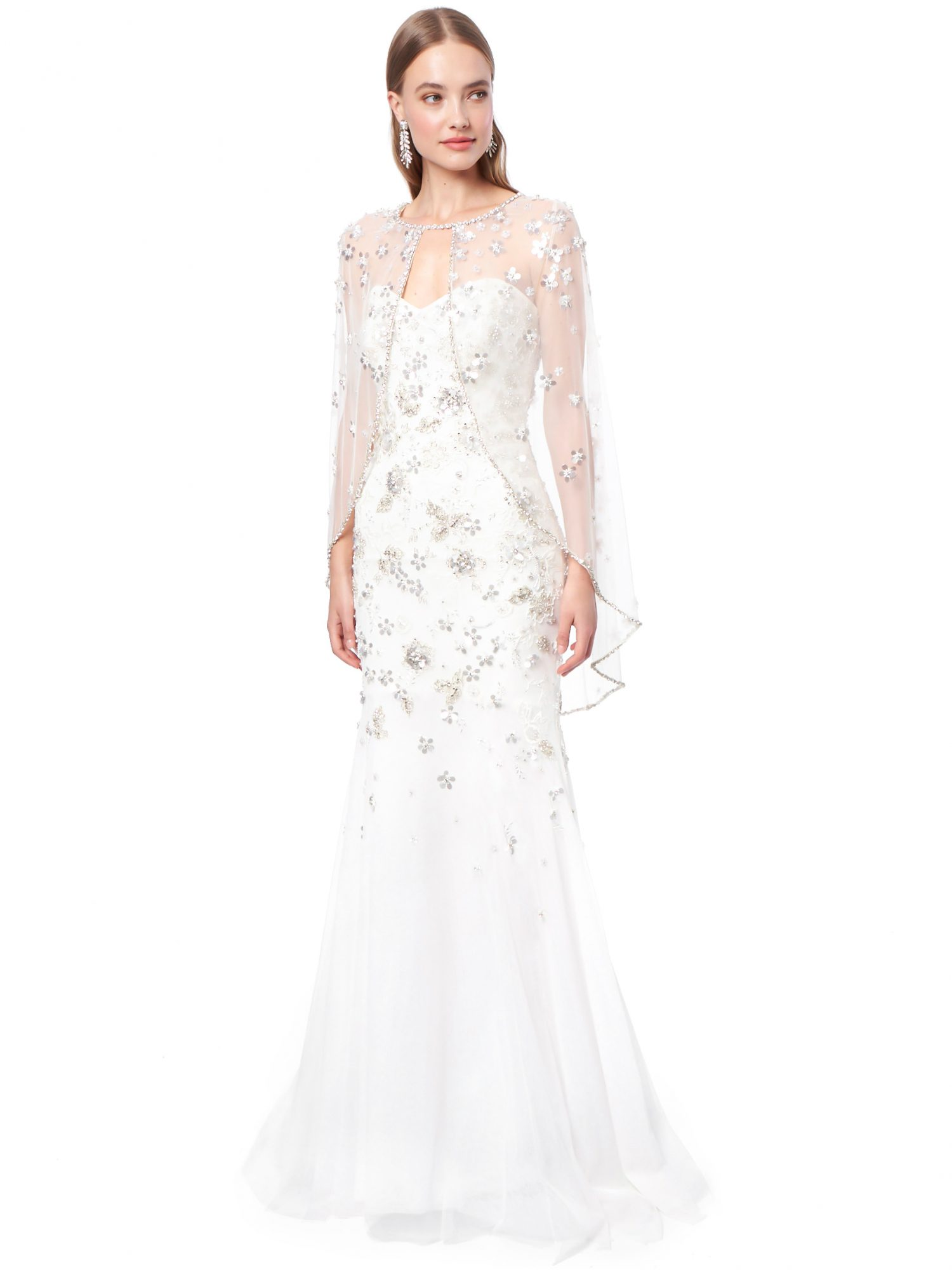 jenny packham strapless sweetheart wedding dress with sheer cape fall 2021