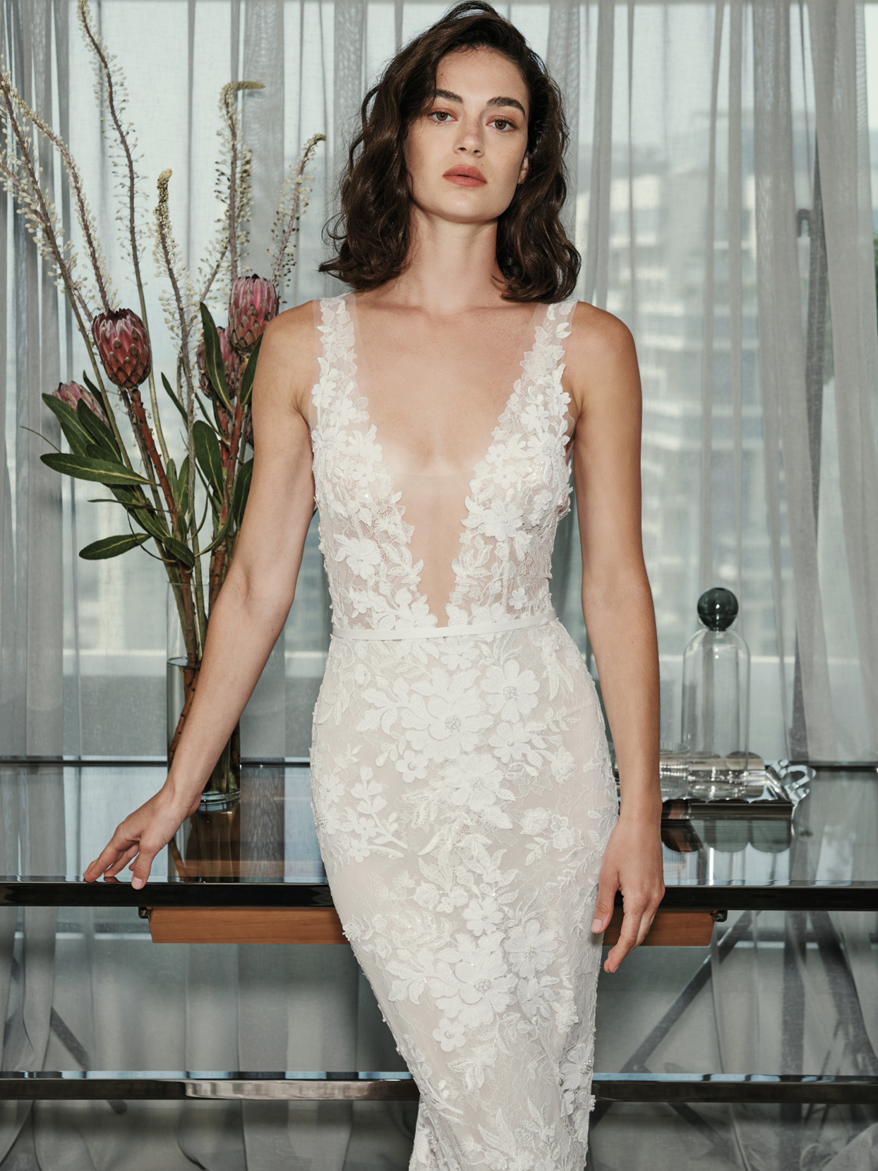mira zwillinger plunging v-neck mermaid wedding dress fall 2021