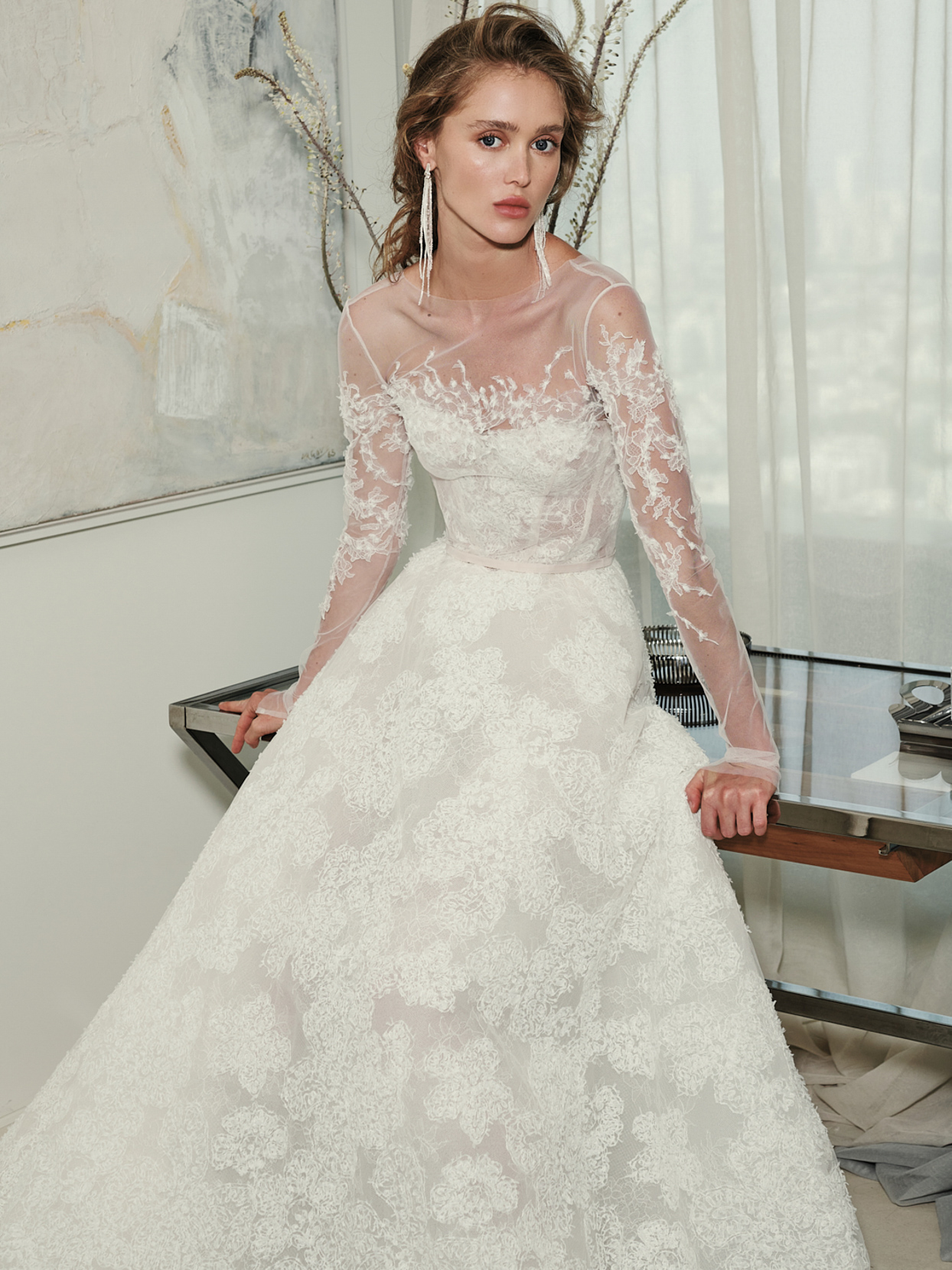 mira zwillinger sheer sleeves a-line wedding dress fall 2021