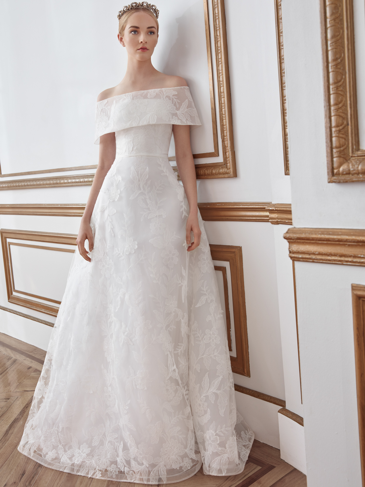 sareh nouri off the shoulder lace overlay wedding dress fall 2021