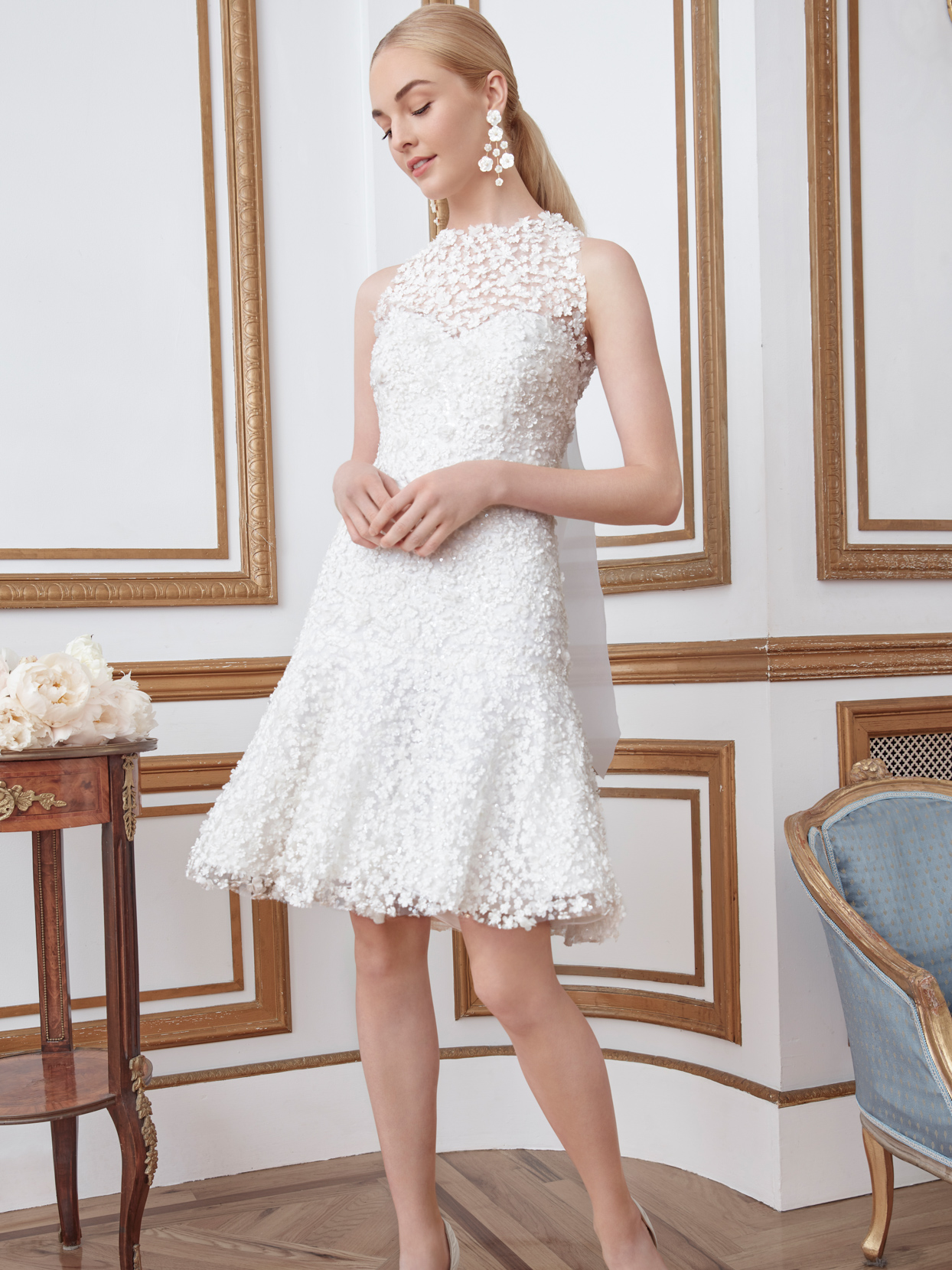 sareh nouri short floral overlay wedding dress fall 2021