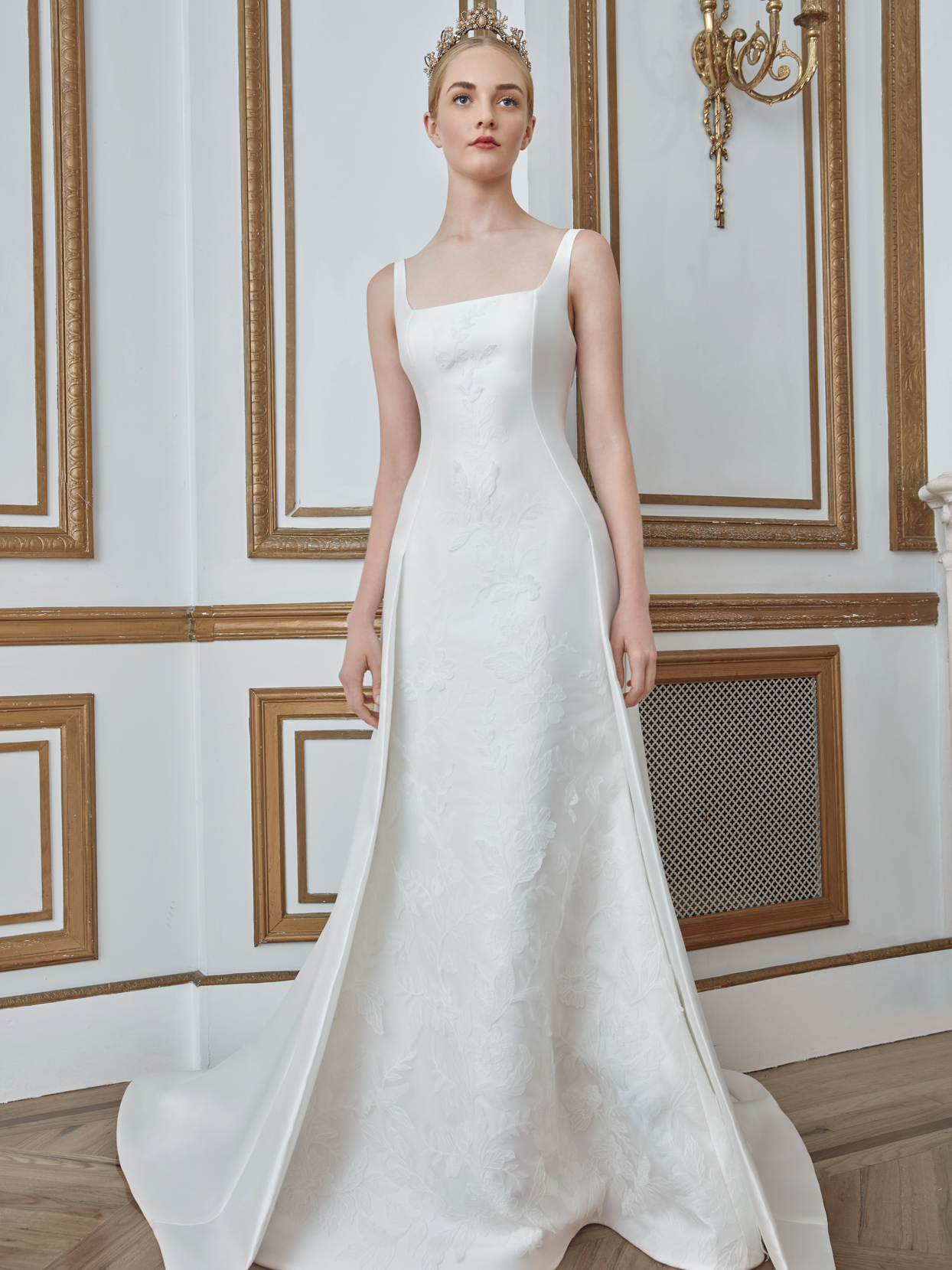 sareh nouri square neck a-line wedding dress fall 2021