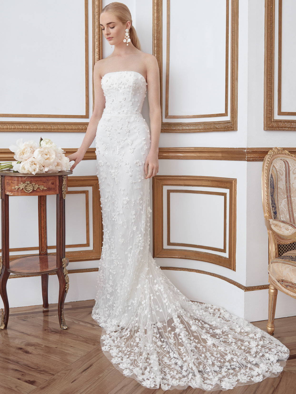 sareh nouri strapless straight wedding dress fall 2021