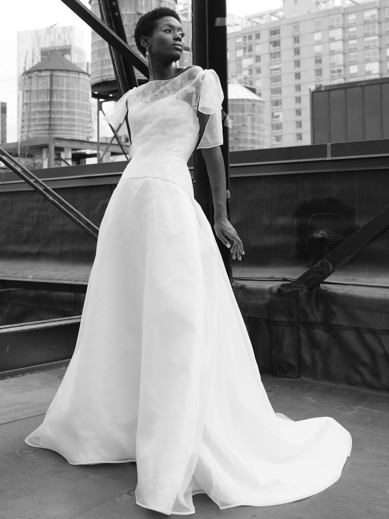 steven birnbaum sheer short sleeve a-line wedding dress fall 2021