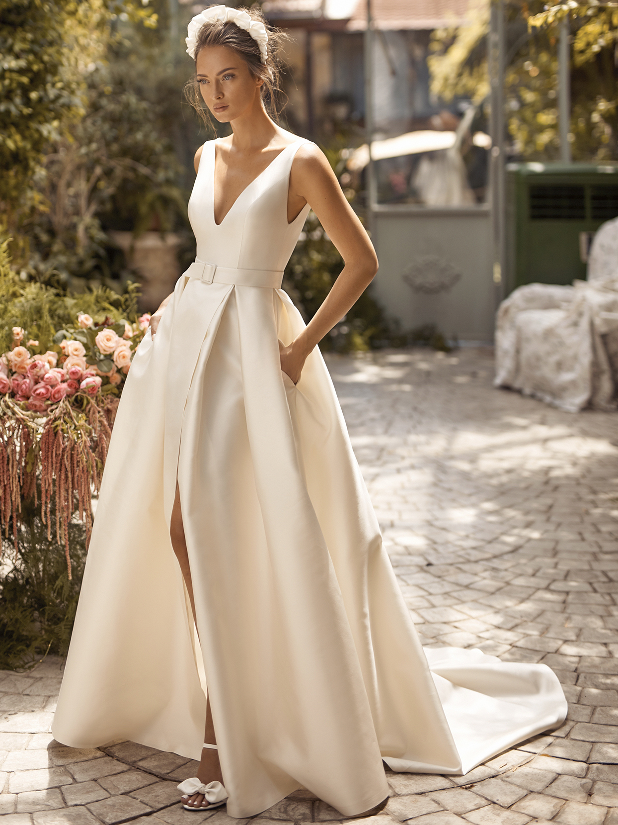 Lihi Hod belted thick strap a-line wedding dress fall 2021