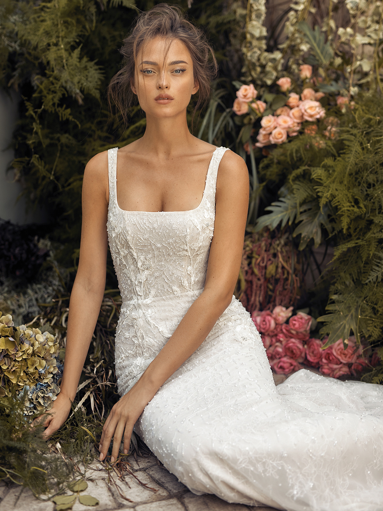 Lihi Hod square neck fit-and-flare wedding dress fall 2021