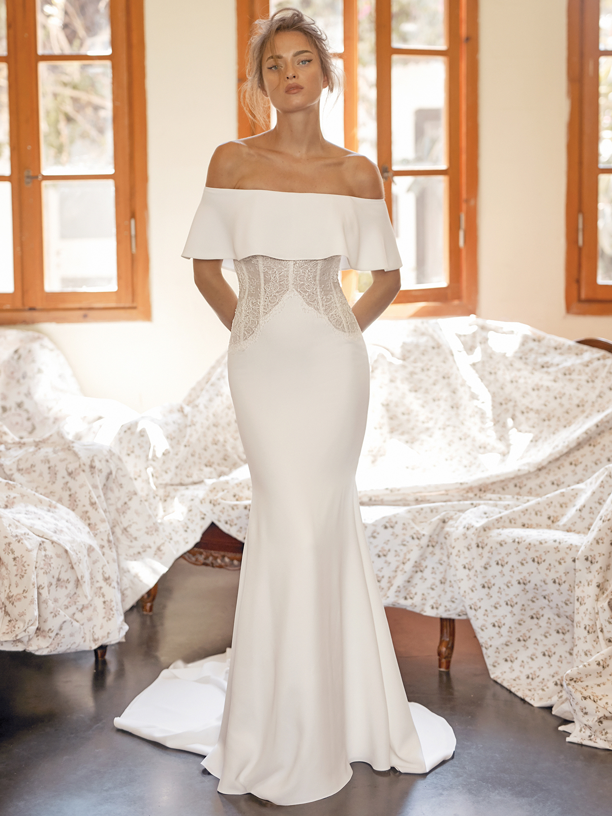 Lihi Hod straight across off-the-shoulder fit-and-flare wedding dress fall 2021