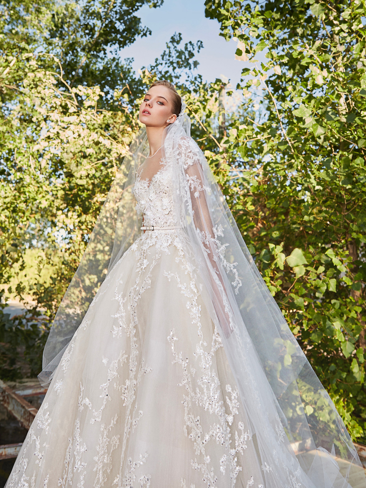 elie saab illusion belted ball gown wedding dress fall 2021