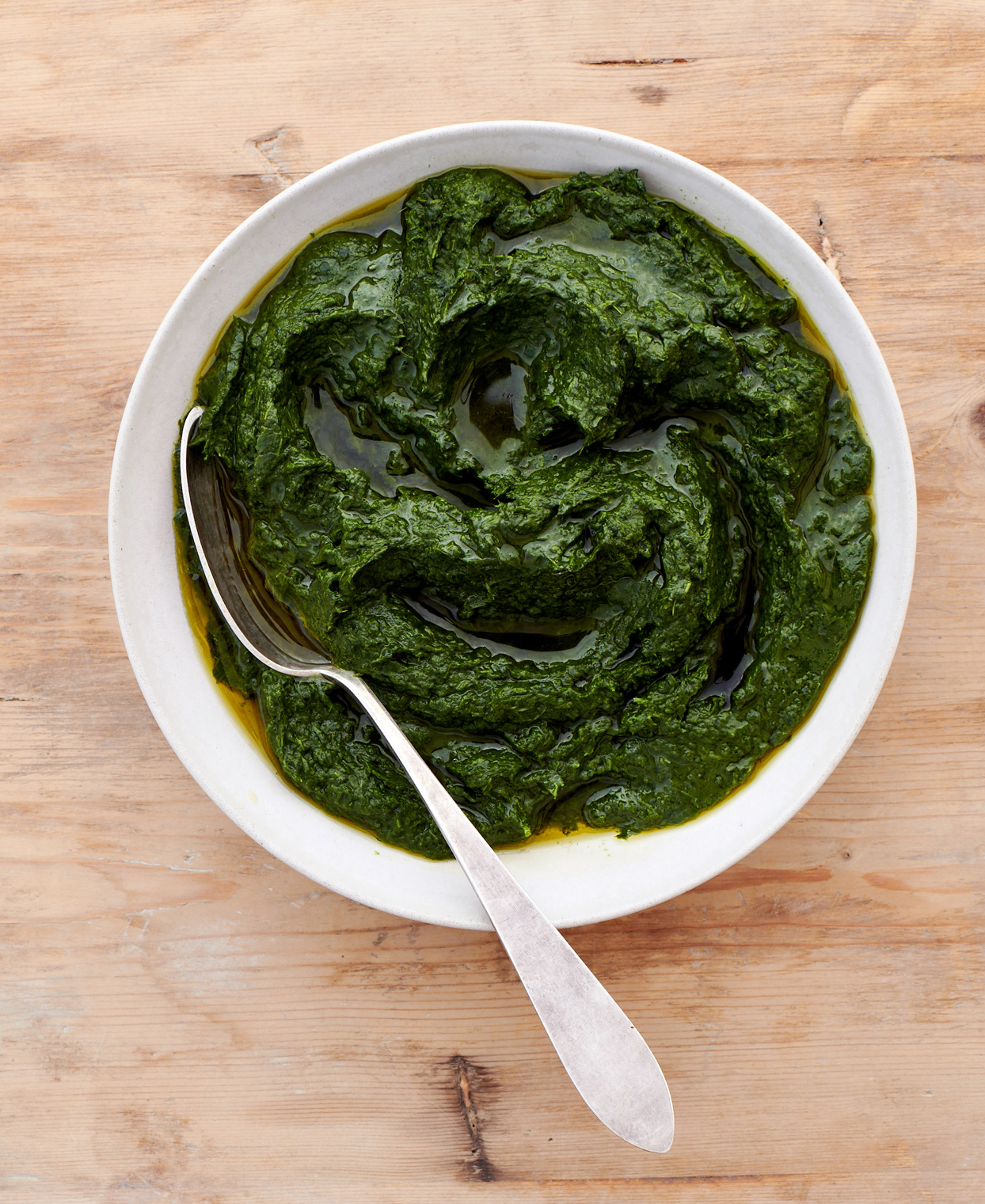 kale puree served in white dish
