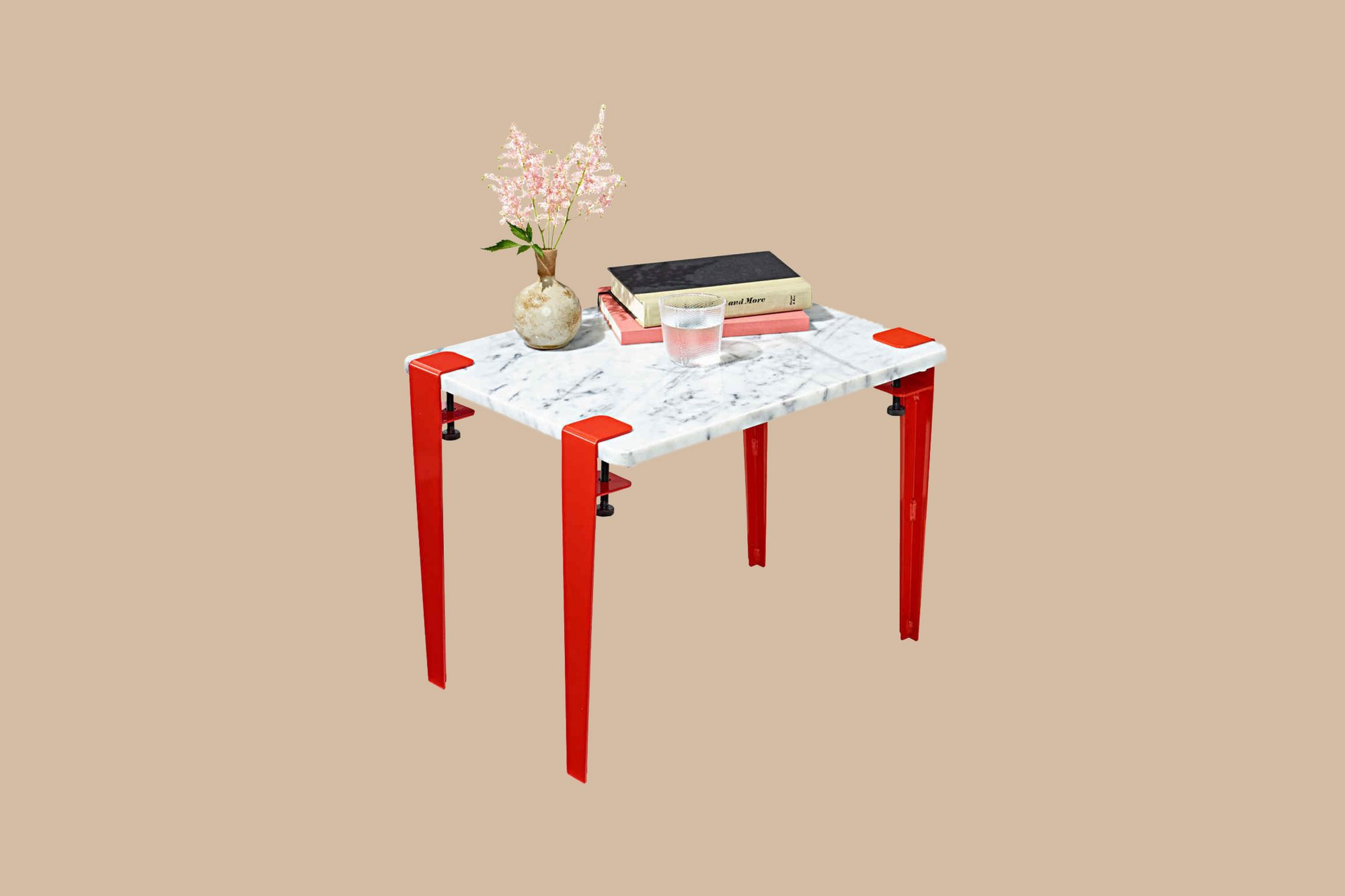 marble table with red legs