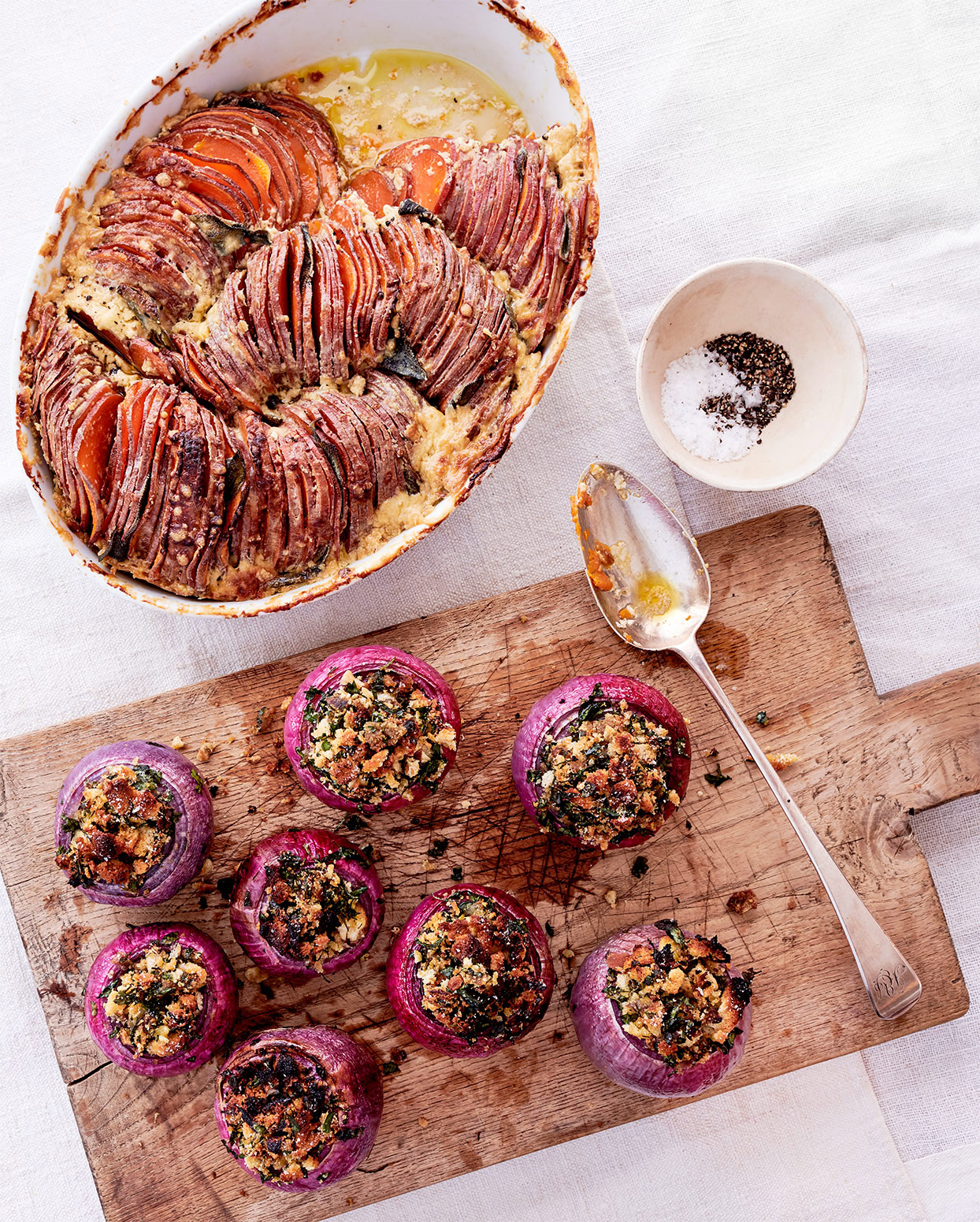 sweet-potato-and-sage tian and red onions stuffed with parsley breadcrumbs