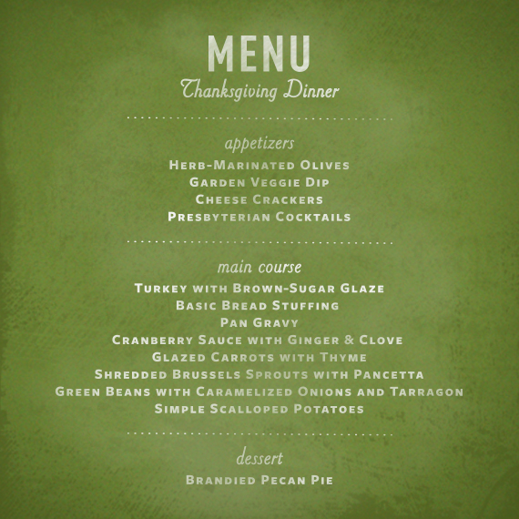 green-colored thanksgiving dinner menu