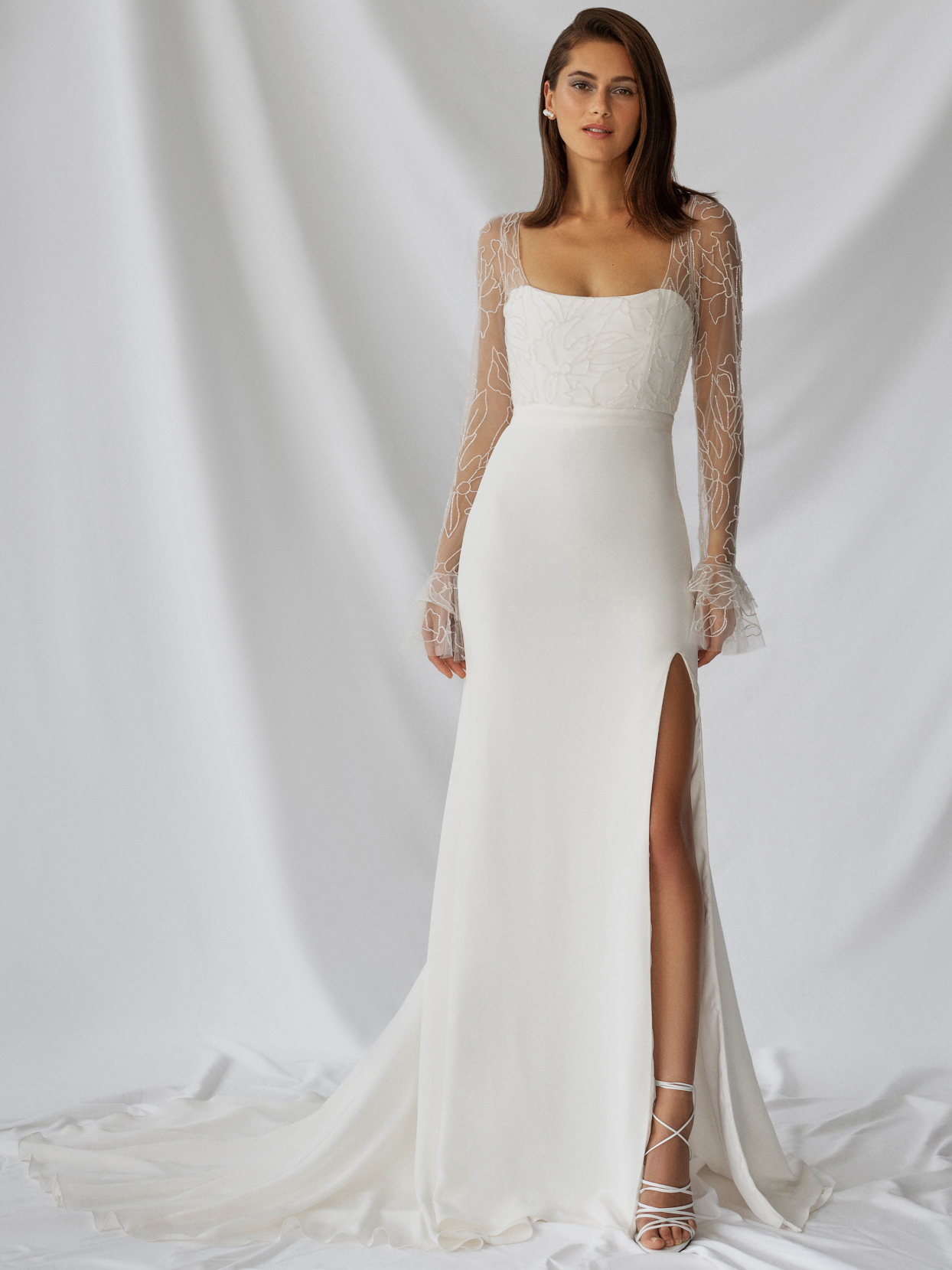 alexandra grecco illusion long sleeve high slit wedding dress fall 2021