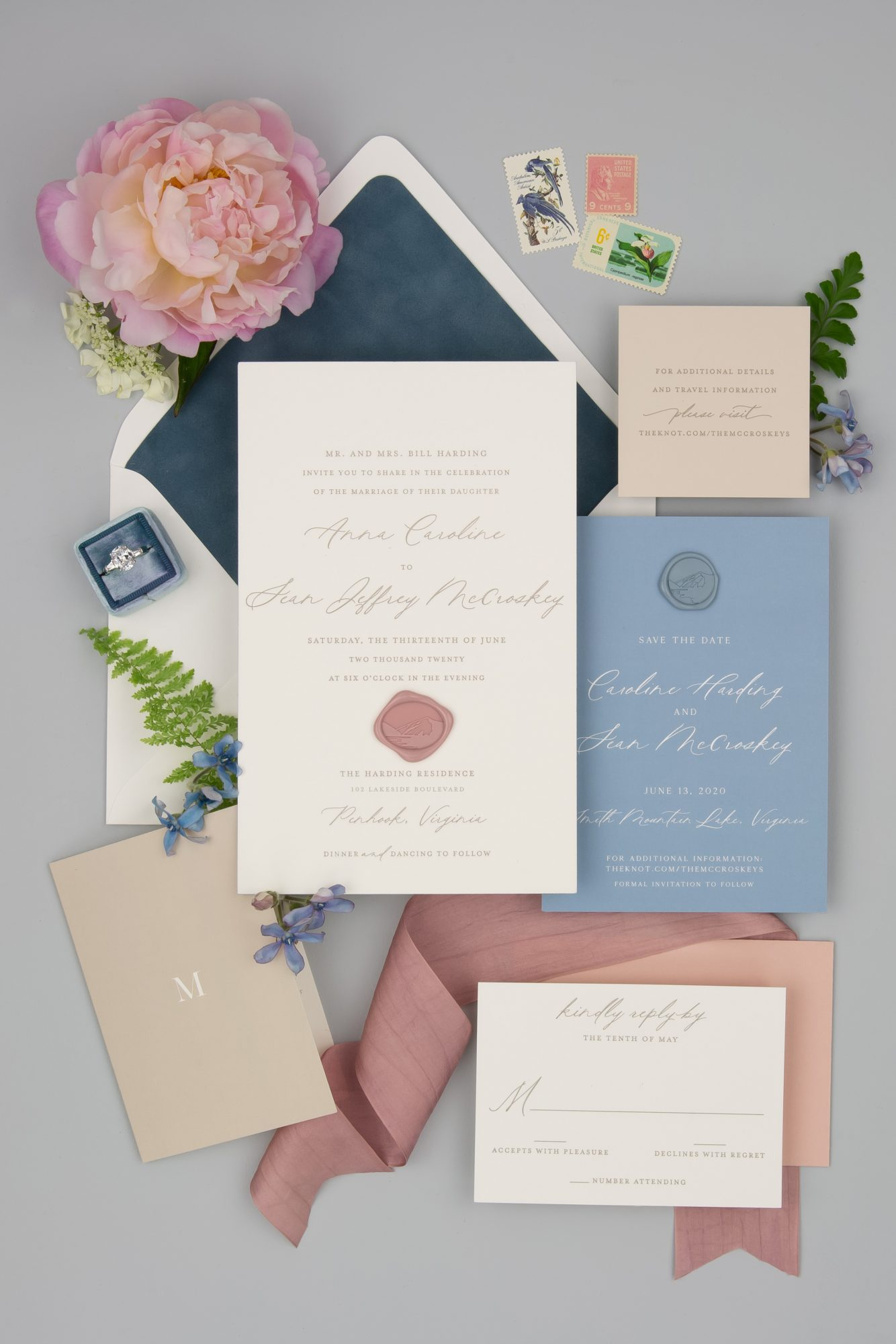 pink and blue wedding invitation suite