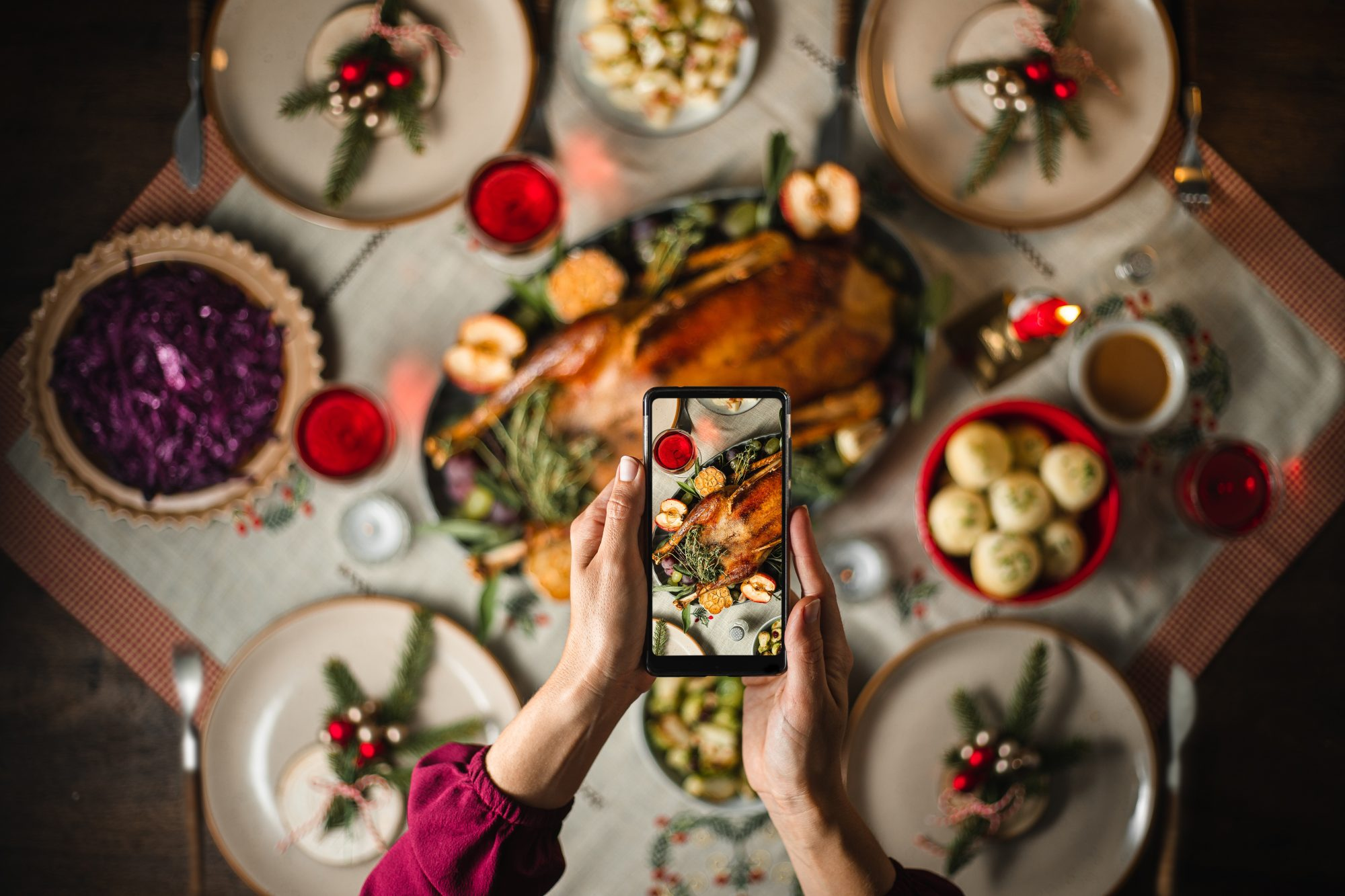 photographing a turkey dinner