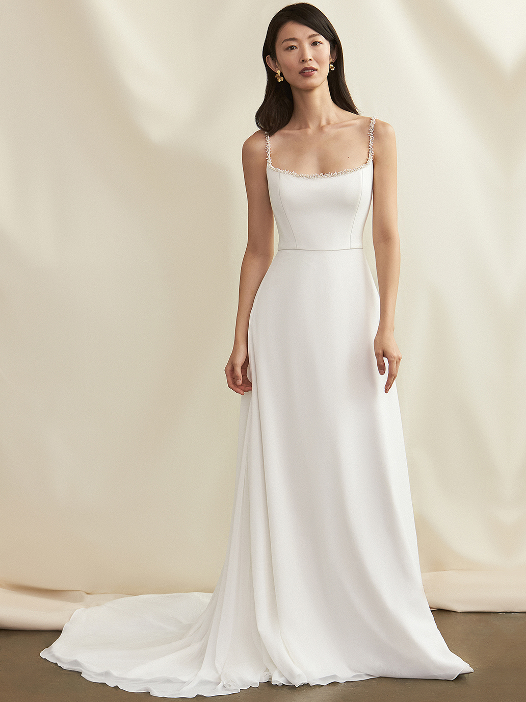 Savannah Miller thin strap square neck a-line wedding dress fall 2021