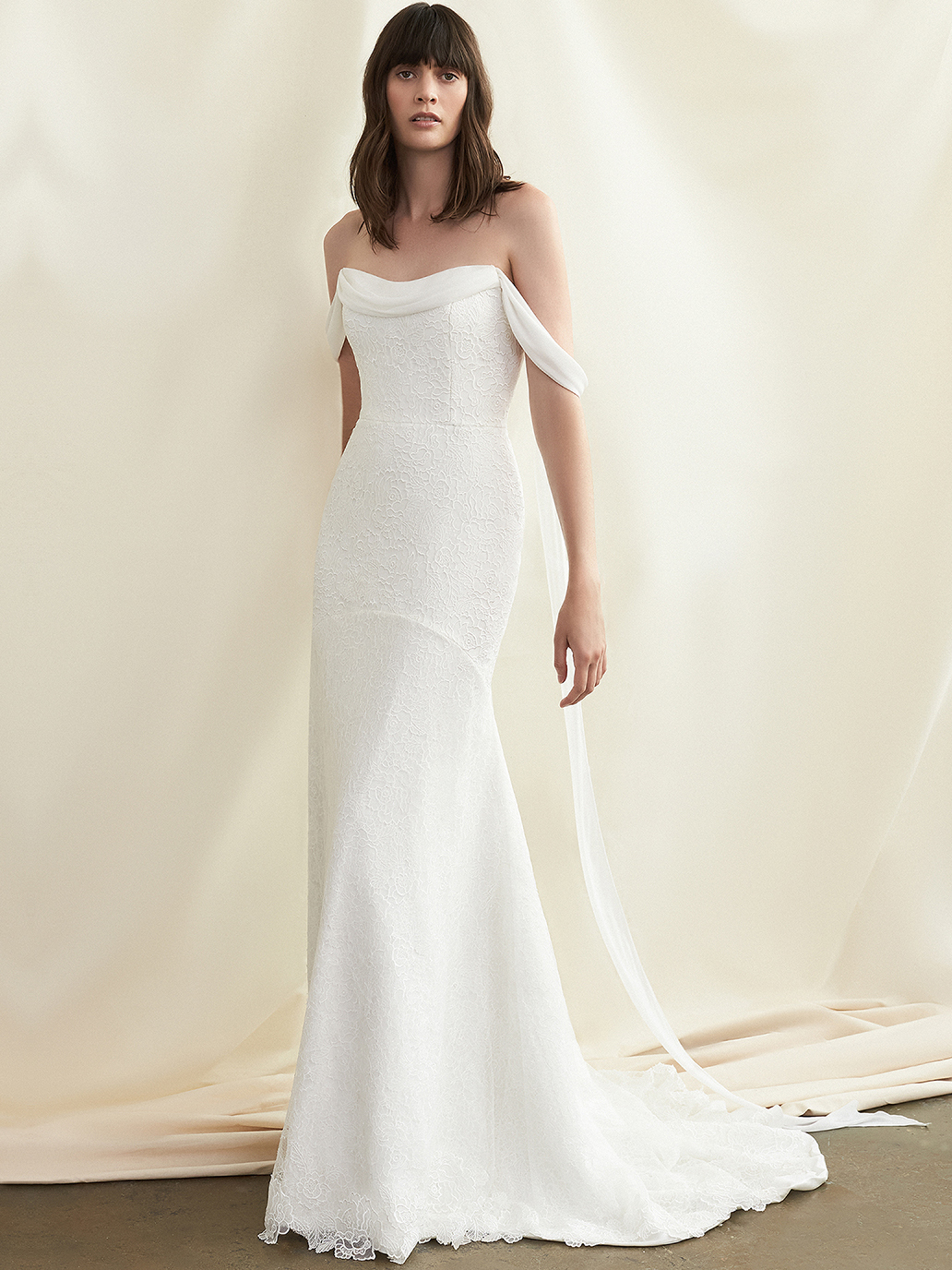 Savannah Miller off-the-shoulder scoop neck fit-and-flare wedding dress fall 2021