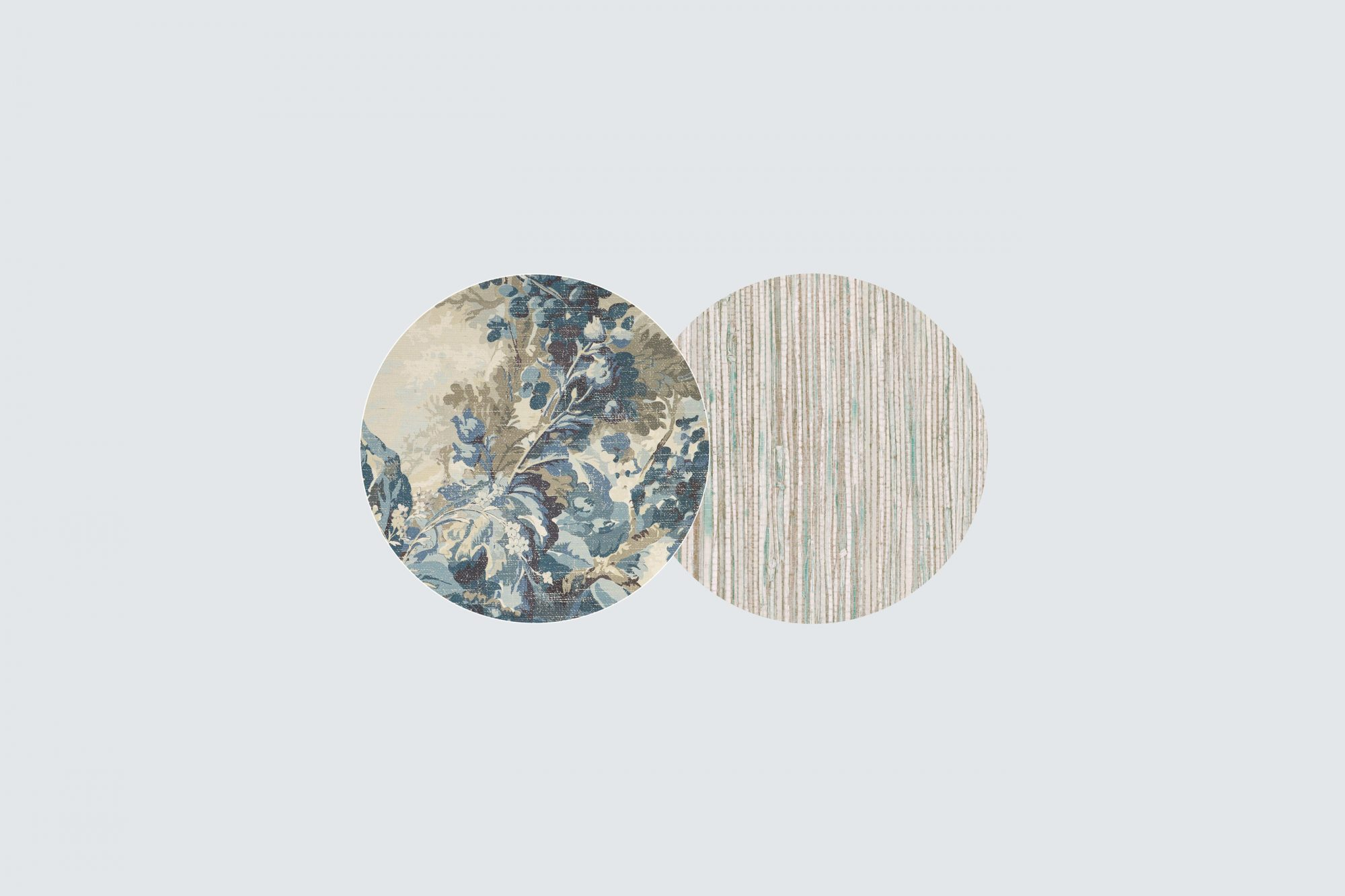blue floral and grass cloth wallpaper swatches