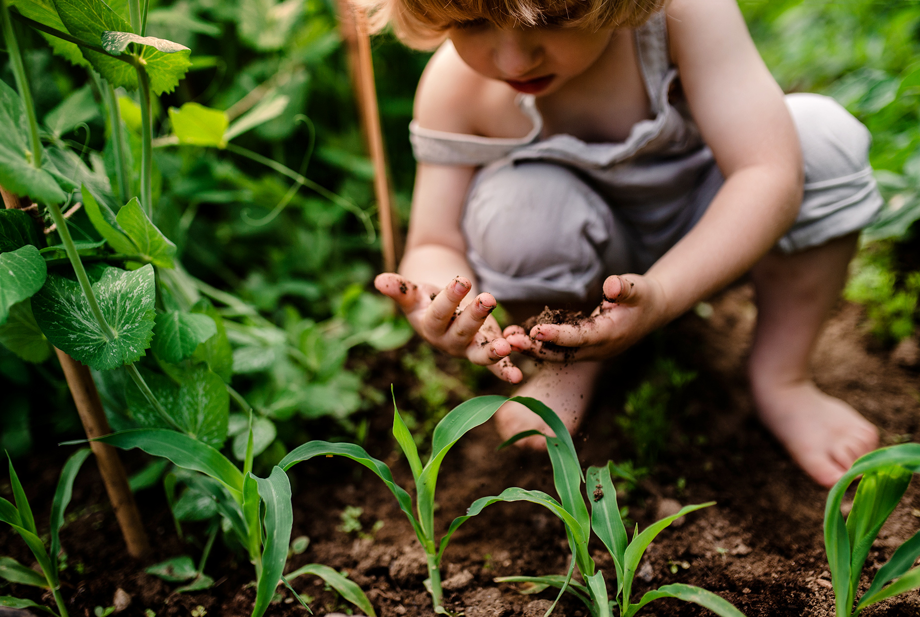 child playing in soil