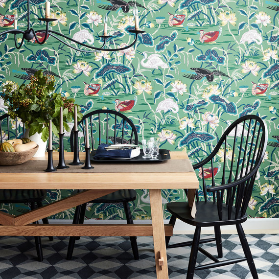 dining room table chair with green birds wallpaper2