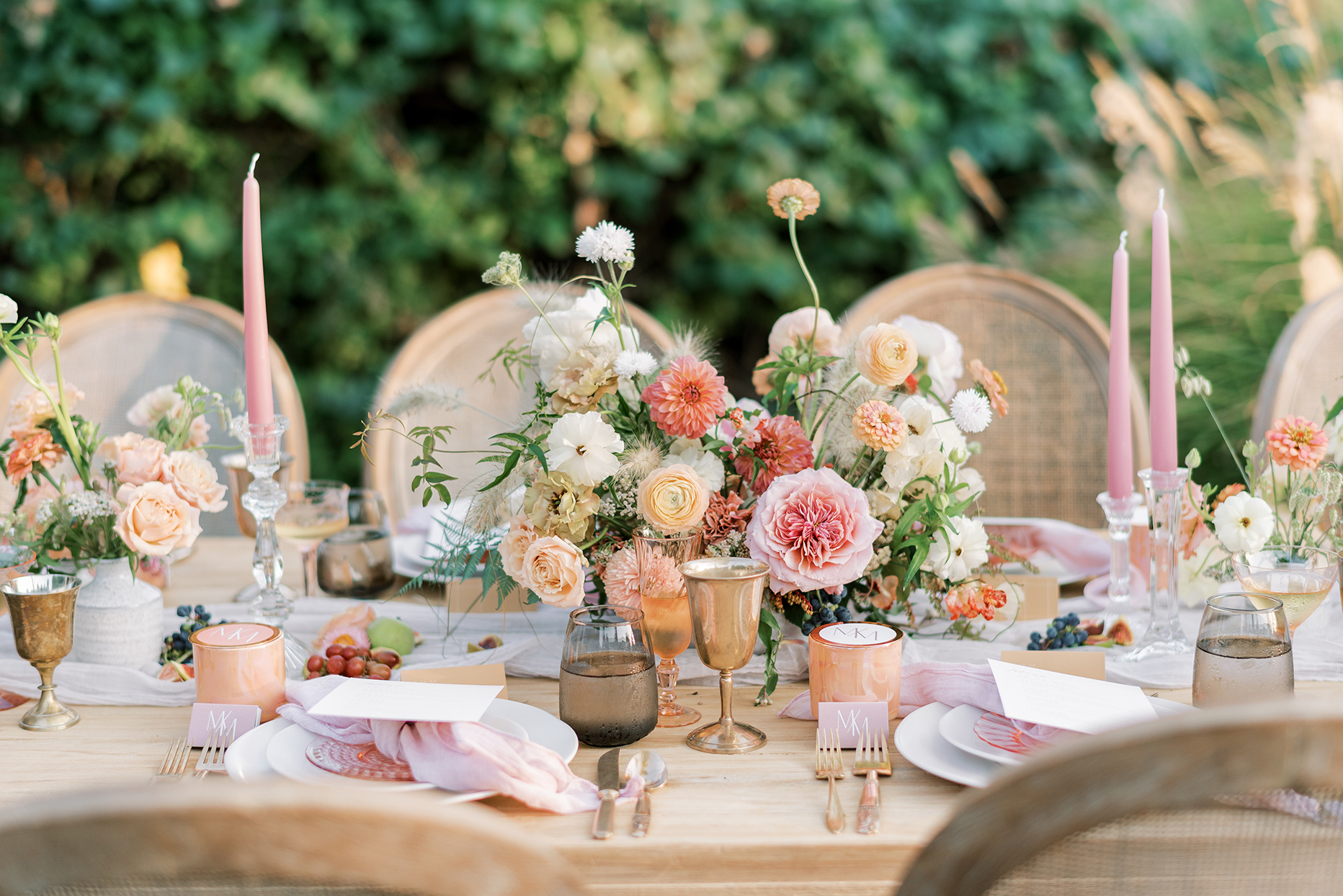 pink toned wedding reception table decor