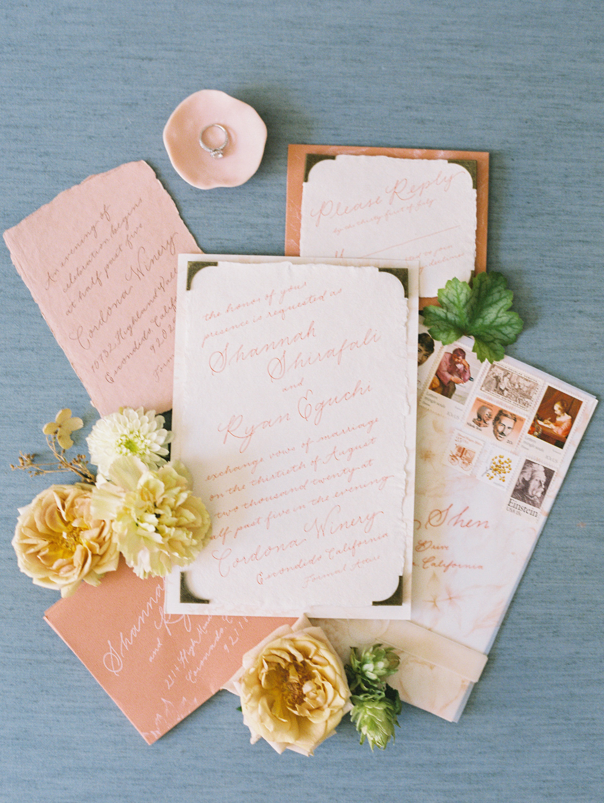 peach and white wedding invitations