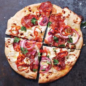 White Pizza with Pickled Onions and Peppers