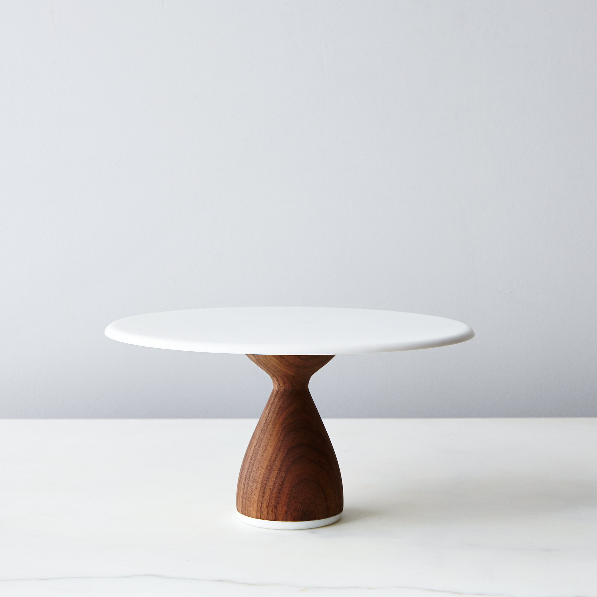 cake stand with walnut base and white top