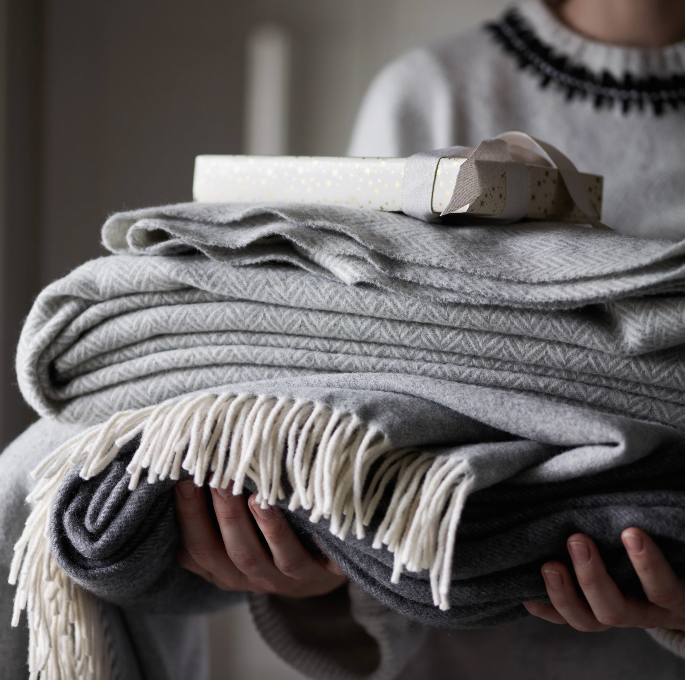 Harlow Henry Mohair Throw in Charcoal