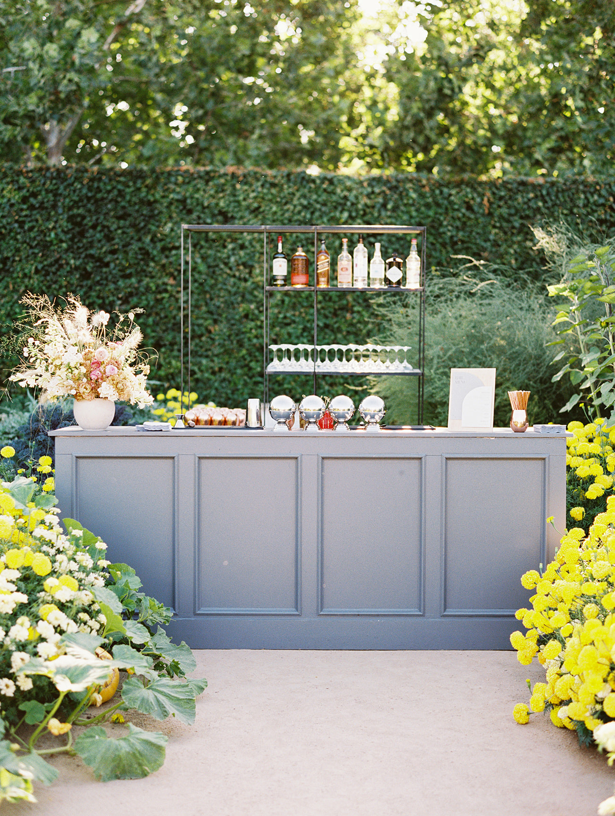 large outdoor wedding reception bar area
